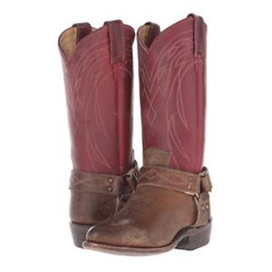 NEW Frye Billy Harness Distressed Boots Burgundy